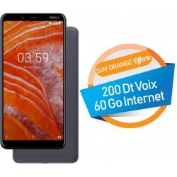 Téléphone Portable Nokia 3.1 Plus / Double SIM / 3Go / Baltique + SIM Orange Offerte (60 Go)