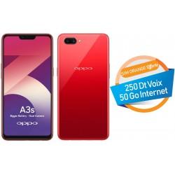 Téléphone Portable Oppo A3S / 4G / 16Go /  Double SIM / Rouge + SIM Orange Offerte (50 Go) + Abonnement IPTV