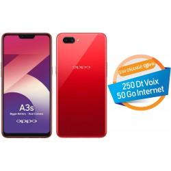 Téléphone Portable Oppo A3S / 4G / 32 Go /  Double SIM / Rouge + SIM Orange Offerte (50 Go) + Abonnement IPTV