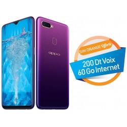 Téléphone Portable Oppo F9 / 4G / Double SIM / Purple + SIM Orange Offerte (60 Go) + Abonnement IPTV