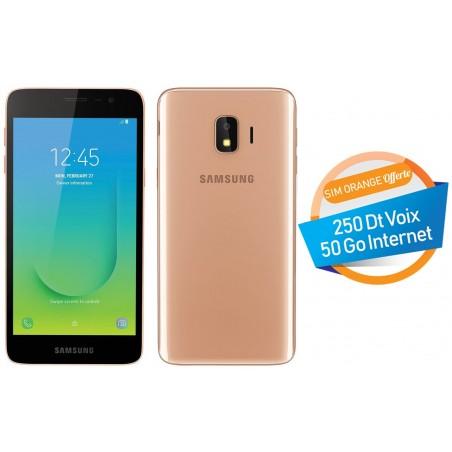 Téléphone Portable Samsung Galaxy J2 Core / 4G / Double SIM / Gold + SIM Orange Offerte (50 Go)