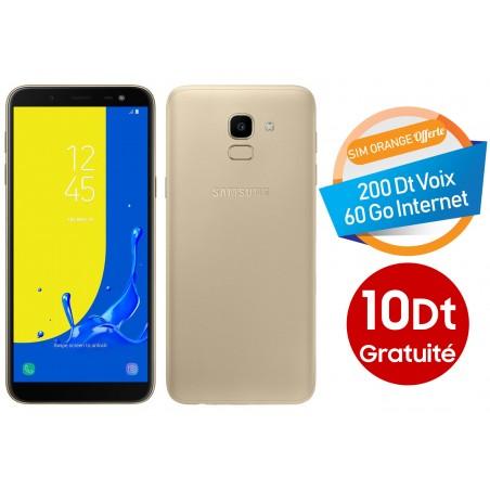 Téléphone Portable Samsung Galaxy J6 / 4G / Double SIM / Gold + Gratuité 10 Dt + SIM Orange Offerte (60 Go)