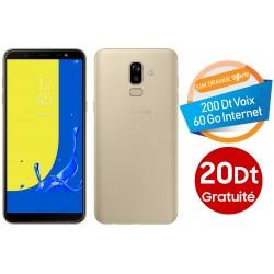 Téléphone Portable Samsung Galaxy J8 / Double SIM / Gold + Gratuité 20 Dt + SIM Orange Offerte (60 Go)