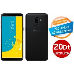 Téléphone Portable Samsung Galaxy J8 / Double SIM / Noir + Gratuité 20 Dt + SIM Orange Offerte (60 Go)