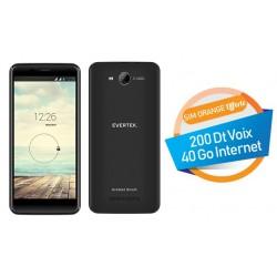 Téléphone Portable Evertek V5 Plus / 4G / Double SIM / Noir + SIM Orange Offerte (40 Go)