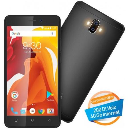 Téléphone Portable Logicom Starter L / 4G / Double SIM / Noir + SIM Orange Offerte (40 Go) + 15 Mois IPTV ORYXO