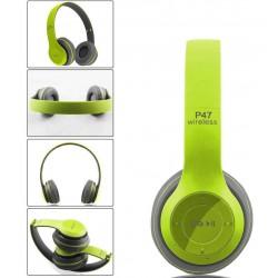 Casque-Micro Bluetooth P47 / Vert & Gris