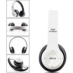 Casque-Micro Bluetooth P47 / Blanc & Noir
