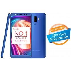 Téléphone Portable Leagoo M9 / 3G / Double SIM / Blue + Baguette Selfie + SIM Orange Offerte (50 Go)