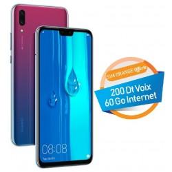 Téléphone Portable Huawei Y9 2019 / 4G / Double SIM / Violet + SIM Orange Offerte 60 Go