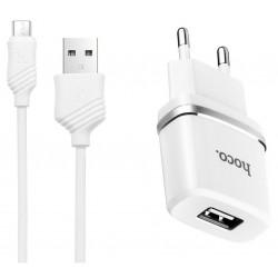 Chargeur secteur Hoco C11 + Câble Micro USB / Blanc