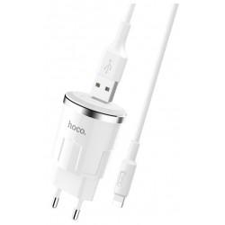 Chargeur secteur Hoco C37A + Câble Lightning 2.4A / Blanc