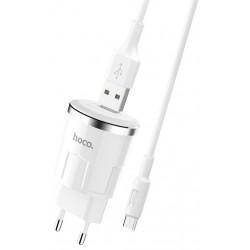 Chargeur secteur Hoco C37A + Câble Micro USB 2.4A / Blanc