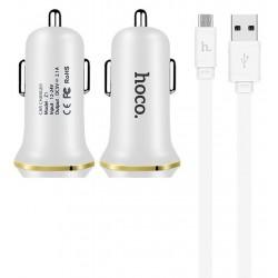 Chargeur de voiture Hoco Z1 double USB 2.1A / Blanc
