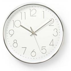 Horloge murale Nedis 30 cm / Blanc et Argent