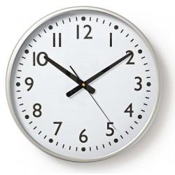 Horloge murale Nedis 38 cm / Blanc et Argent