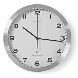 Horloge murale Radio-Pilotée Nedis 30 cm / Blanc et Argent