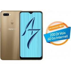 Téléphone Portable Oppo A7 / 4G / Double SIM / Gold + SIM Orange Offerte (60 Go) + Abonnement IPTV