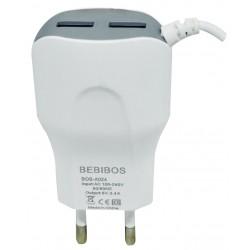Chargeur Secteur BEBIBOS 2x USB 2.4A / Type-C / Blanc