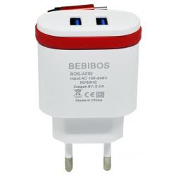 Chargeur Secteur BEBIBOS 2x USB 2.1A / Blanc & Rouge