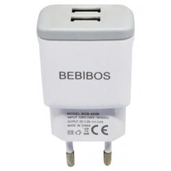 Adaptateur Secteur BEBIBOS Fast Charging 2x USB 2.4A / Blanc