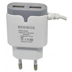 Chargeur Secteur BEBIBOS 2x USB 2.4A / Blanc