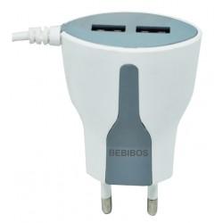 Chargeur Secteur BEBIBOS Fast Charging 2x USB 2.4A / Blanc