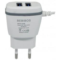 Chargeur Secteur BEBIBOS Fast Charging 2x USB 2.1A / Blanc