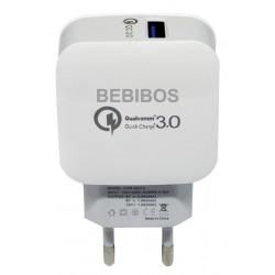 Adaptateur Secteur BEBIBOS Fast Charging 2x USB 2.1A / Blanc