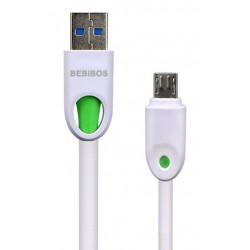 Câble BEBIBOS USB Vers Micro USB / Blanc & Vert