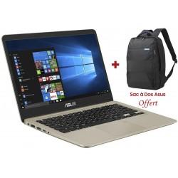 Pc portable Asus VivoBook S14 S410UN / i7 8è Gén / 8 Go / Gold + SIM Orange 30 Go + Internet Security Bitdefender + Sac à dos