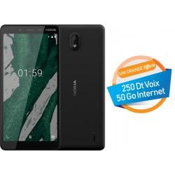 Téléphone Portable Nokia 1 Plus / Noir + Carte mémoire 16 Go Gratuite + SIM Orange 50 Go + Film de protection Offert