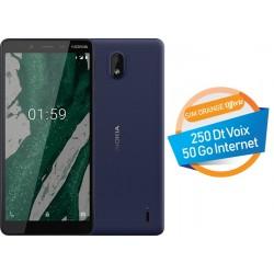 Téléphone Portable Nokia 1 Plus / Bleu + Carte mémoire 16 Go Gratuite + SIM Orange 50 Go + Film de protection Offert