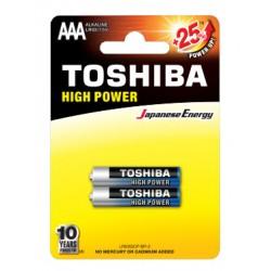 2x Piles Toshiba Alkaline High Power AAA / LR03 / 1.5V