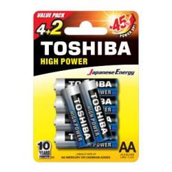 6x Piles Toshiba Alkaline High Power AA / LR06 / 1.5V
