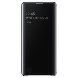 Flip Cover Clear View pour Samsung Galaxy S10+ / Noir