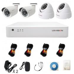KitLS Vision DVR AHD 4 canaux + 2 Caméras 2MP Tube + 2 Caméras 2MP Dôme