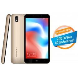 Téléphone Portable Leagoo Z9 / 3G / Double SIM / Gold + SIM Orange Offerte (40 Go)