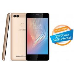Téléphone Portable Leagoo Power 2 / 3G / Double SIM / Gold + SIM Orange Offerte (50 Go)