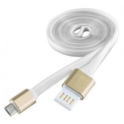 Câble plat USB vers Micro USB / Blanc