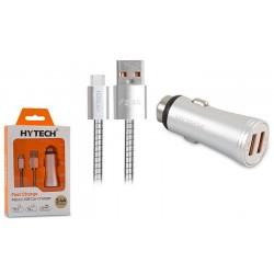 Chargeur Allume Cigare Hytech Métal + Câble Micro USB / HY-X62 / 3.4A / Blanc