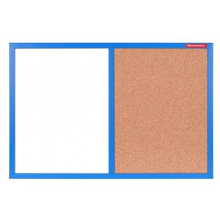 Tableau Mixte Blanc magnétique et Liège cadre en bois 60 x 40 / Bleu