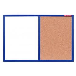 Tableau Mixte Blanc magnétique et Liège cadre en bois 60 x 40 / Bleu Foncé