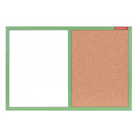 Tableau Mixte Blanc magnétique et Liège cadre en bois 60 x 40 / Vert