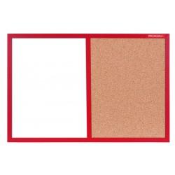 Tableau Mixte Blanc magnétique et Liège cadre en bois 60 x 40 / Rouge