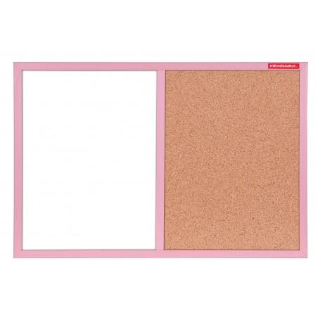 Tableau Mixte Blanc magnétique et Liège cadre en bois 60 x 40 / Rose