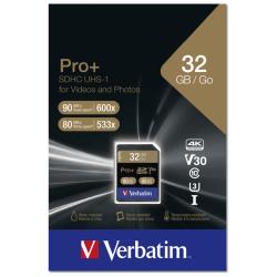 Carte mémoire SD Verbatim Pro+ U3 / 64 Go