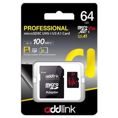 Carte mémoire Addlink MicroSDXC 64 Go Class10+ UHS-1 V30 U3