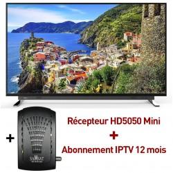 """Téléviseur Toshiba U7750 65"""" Ultra HD 4K Smart TV Android / Wifi + Récepteur HD5050 Mini + Abonnement IPtv 12 mois"""