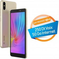 Téléphone Portable Tecno POP 2s Pro / 4G / Double SIM / Gold + SIM Orange Offerte 50 Go